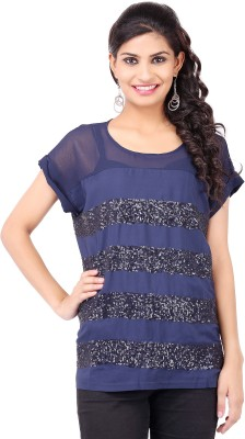 Pear Blossom Party Short Sleeve Solid Women's Blue Top