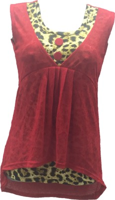 Dovekie Casual Sleeveless Animal Print Women's Red Top