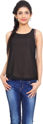 Label VR Casual Sleeveless Embroidered Women's Black Top