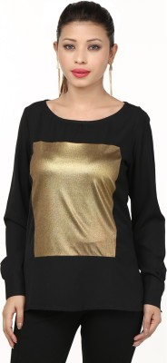 Threesome Casual Full Sleeve Solid Women's Black, Gold Top