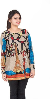SXY! Casual, Party, Lounge Wear, Sports, Beach Wear Full Sleeve Graphic Print Women's Brown Top