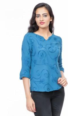 Eurodif Design Party, Beach Wear, Festive 3/4 Sleeve Embroidered Women's Blue Top