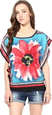 Rose Vanessa Casual Sleeveless Floral Print Women's Blue Top