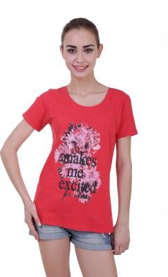 Skatti Casual Short Sleeve Floral Print Women's Red Top