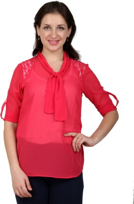 Lmode Casual, Party Roll-up Sleeve Solid Women's Pink Top