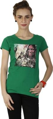 Duke Stardust Casual Short Sleeve Printed Women's Green Top