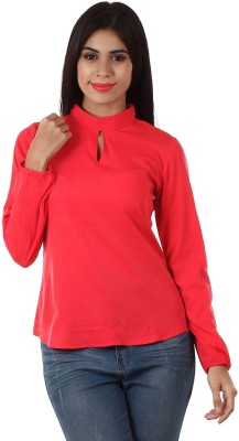 Golden Couture Casual, Party Full Sleeve Solid Women's Pink Top