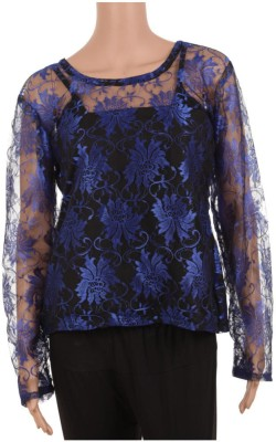 Rampwaq Party Full Sleeve Printed Women's Blue Top