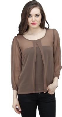 Osumfab Casual 3/4 Sleeve Solid Women's Brown Top