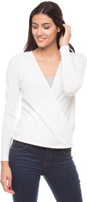 Shuffle Casual Full Sleeve Solid Women's White Top