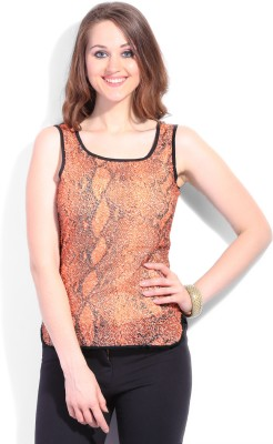 Latin Quarters Casual Sleeveless Printed Women's Orange, Black Top
