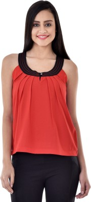 Colors Couture Casual Sleeveless Solid Women's Red Top