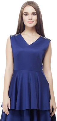 Elegn Casual, Party Sleeveless Solid, Embellished Women's Blue Top