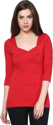 Citrine Formal 3/4th Sleeve Solid Women's Red Top
