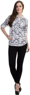 Antilia Femme Casual 3/4 Sleeve Printed Women's White Top