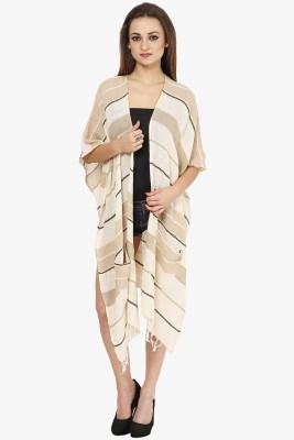 Citypret Casual Kimono Sleeve Striped Women's Beige Top