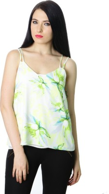 StyleToss Casual Noodle strap Floral Print Women's Green Top