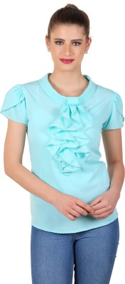 eyelet Casual, Party, Lounge Wear Short Sleeve Solid Women's Light Blue Top
