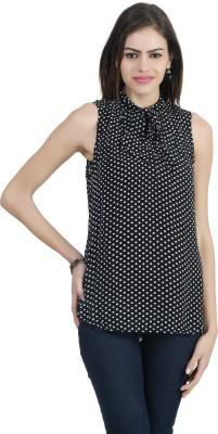 Archiz Casual Sleeveless Polka Print Women's Black Top