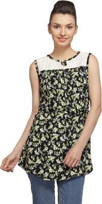 Flevio Casual Sleeveless Printed Women's Black Top