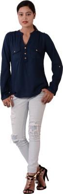 Fashnopolism Casual Full Sleeve Solid Women's Dark Blue Top