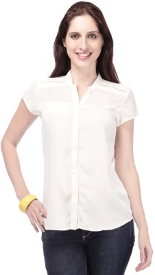 Eliza Donatein by Shoppers Stop Casual Short Sleeve Solid Women's White Top