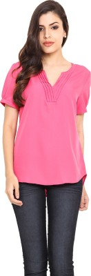 Label VR Casual Short Sleeve Solid Women's Pink Top