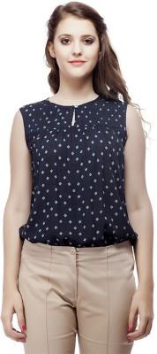 ORIANNE Casual Sleeveless Printed Women's Blue Top