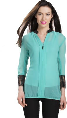 Ishin Designer Studio Casual Full Sleeve Solid Women's Blue Top