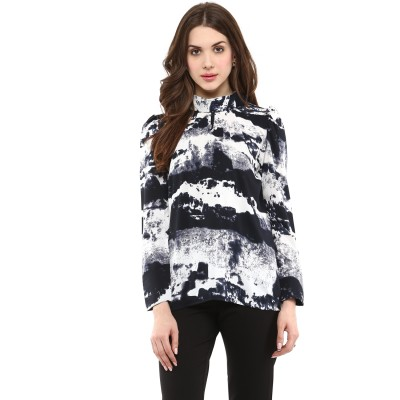 La Zoire Casual, Party Full Sleeve Printed Women's White, Multicolor Top