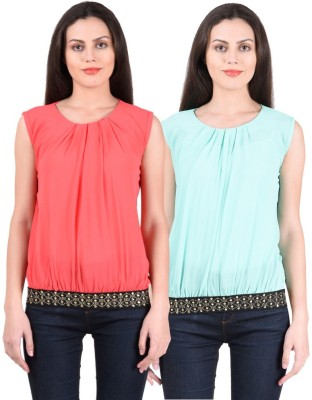 NumBrave Casual, Formal, Party Sleeveless Solid Women's Pink, Green Top