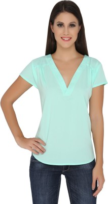 The Beach Company Casual Short Sleeve Solid Women's Green Top