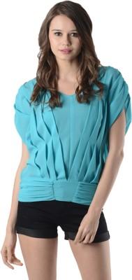 Oranje Casual Cap sleeve Solid Women's Blue Top