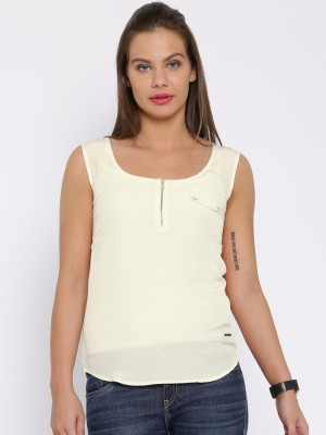 Harvard Casual Sleeveless Solid Women's White Top at flipkart