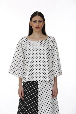 Baba Rancho Casual 3/4 Sleeve Printed Women's Black Top
