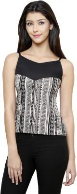 Rigo Casual Sleeveless Self Design Women's Black Top