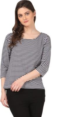 FashionExpo Casual 3/4 Sleeve Striped Women's Black, White Top