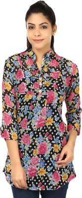 Yashasvi Casual 3/4 Sleeve Floral Print Women's Black, Pink Top