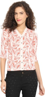 Northern Lights Casual Short Sleeve Printed Women's White, Red Top