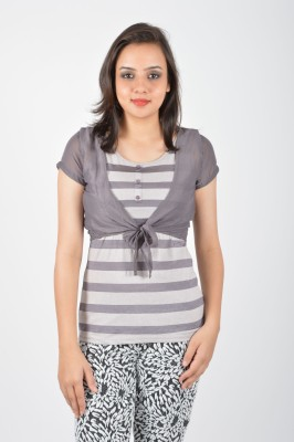 Merch21 Casual Short Sleeve Printed Women's Grey Top