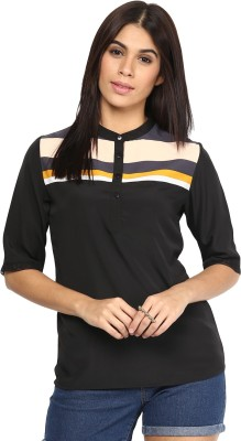 AR2 Casual 3/4 Sleeve Solid Women's Black Top
