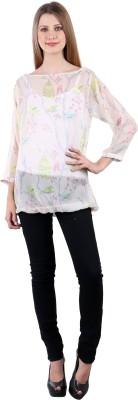 Selfiwear Casual 3/4 Sleeve Printed Women's White Top