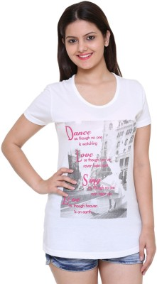 IN Love Formal, Casual, Party Short Sleeve Printed Women's White Top