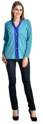 PINK SISLY Casual Full Sleeve Solid Women's Blue, Green Top
