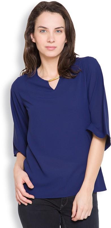 Tokyo Talkies Casual 3/4th Sleeve Solid Women's Dark Blue Top