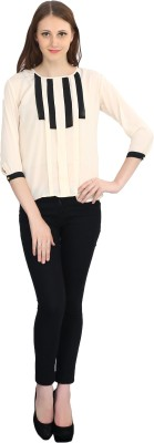 Glitterss Casual 3/4 Sleeve Solid Women,s Beige Top