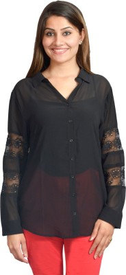 Scavin Party Full Sleeve Embellished Women's Black Top