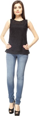 Pikucollections Casual Sleeveless Solid Women's Black Top