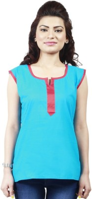 Ambitione Women,s, Girl's Solid Casual Light Blue Shirt