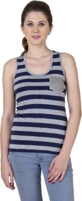 Jprana Casual Sleeveless Striped Women's Grey, Dark Blue Top